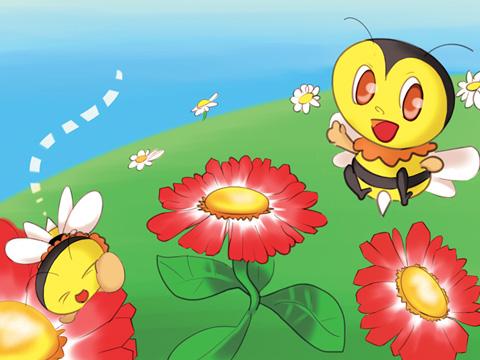 ハチがデイジーの周りで戯れるイラスト
